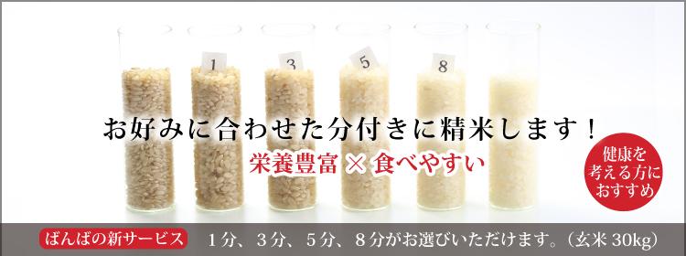 お好みの分つき米に精米します